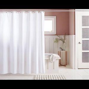 🌸 Woven Stripe Shower Curtain White - Threshold